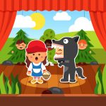 Kindergarten theatre play. Kids staging Little Red Riding Hood in costumes. Wolf and Red Hood on the boards accompanied by boy trees. Flat style cartoon vector illustration with isolated objects.